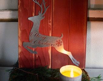 Merry Christmas Reindeer Metal Sign - Christmas Decor - Holiday Decor - Rustic Holiday Sign