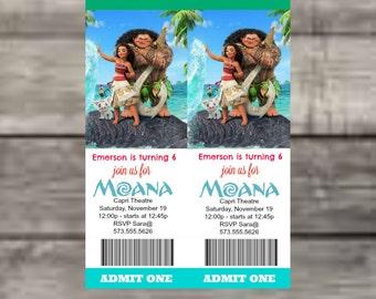 Moana Movie Ticket Invite, Moana, Movie Ticket, Birthday, Admit One, Digital Image