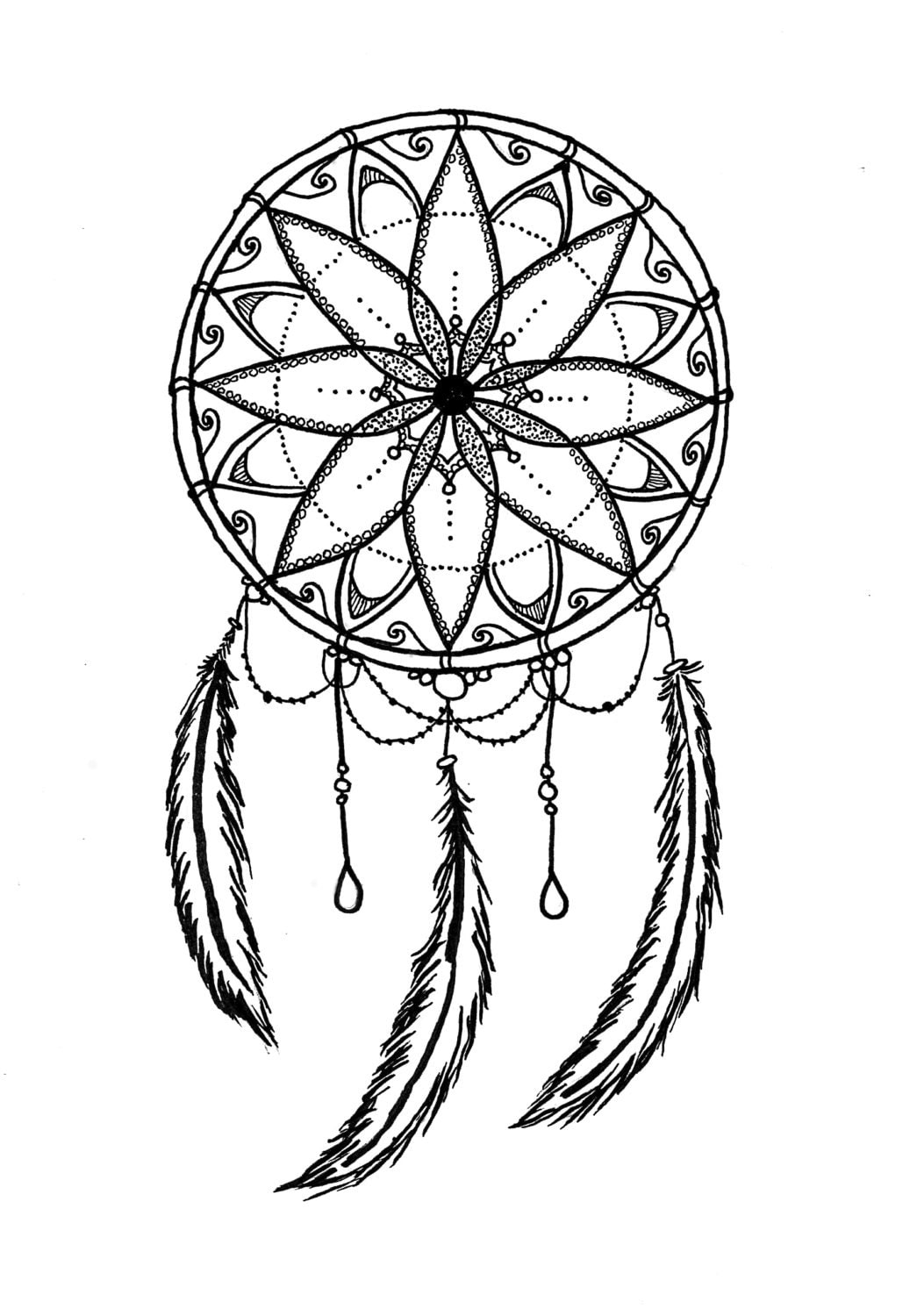 dreamcatcher zentangle coloring page