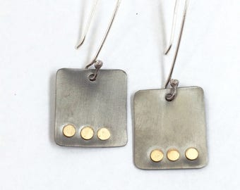 Titanium earrings, handcrafted jewelry, metal jewelry, sterling silver, square earrings, dangle earrings, gift for her, made in Santa Fe