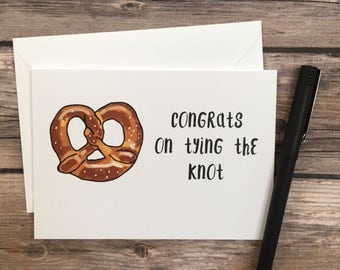 tying the knot card - pretzel card - tye the knot - funny wedding card - food wedding card - cards for couple - wedding congrats card