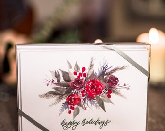 "HAPPY HOLIDAYS - Boxed Set of (10) 5x7"" Greeting Cards"