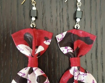 Multicoloured bow tie cotton earrings