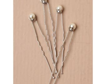 Silver Cream Pearl Hair Pins Set of 4. Hair Accessories for Bridal hair, Bridesmaids, Ballet Hair Pins, Up Do Decorative Hair Pin
