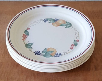 Corelle Abundance Lunch Plates~Set of 6 Salad plates~ Fruit Bordering Plate~Red/Blue Edging~Pyroceram glass~Made in the USA.