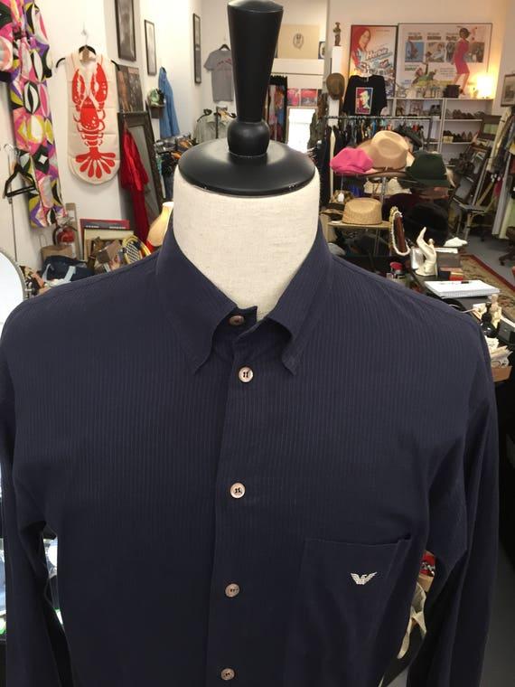 Men's Emporio Armani Navy Blue Dress Shirt Made in Italy