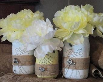 White/Yellow Mason Jar Set w/ Burlap Ribbon/Twine/Buttons Flower Wedding Table Centerpiece, Bridal/Baby Shower Jars,Bathroom/Bedroom Jar Set