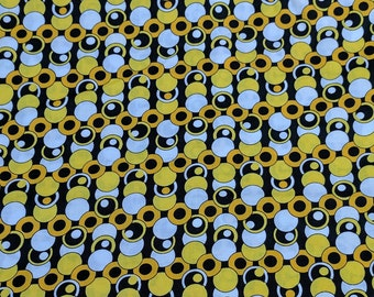 Yellow and Black Circles Cotton Fabric