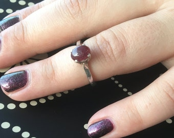 Ruby silver Ring, Red ruby Ring, 925 Sterling ruby Ring, Silver ruby Ring, July birthstone, Oval ruby Ring, Ruby gemstone, Ruby red ring,