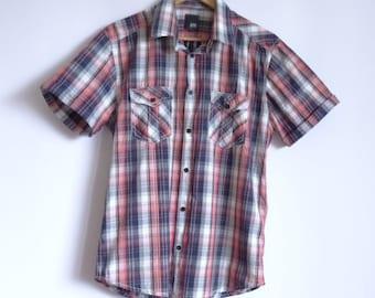 Jack&Jones Men's Shirt/Summer Shirt/Plaid Men's Shirt/Blue Red White Colors Shirt/ Short Sleeves Shirt