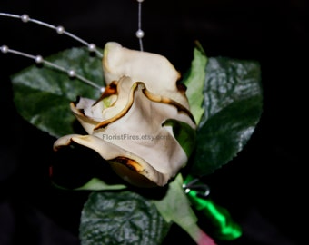 Florist Fires™ Signature Burned White Rose Wedding Boutonniere Corsage Anti Valentines Day Divorce Party Bachelorette Party