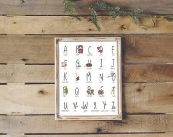 Woodland Nursery Alphabet Poster | Instant Download