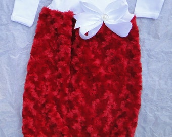 Ultra plush minky fabric gown, baby girl take home outfit, baby girl christmas, baby girl layette, newborn gown