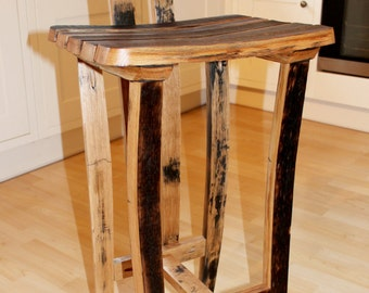 Oak, Scotch Whisky barrel stave bar/kitchen stool with back rest