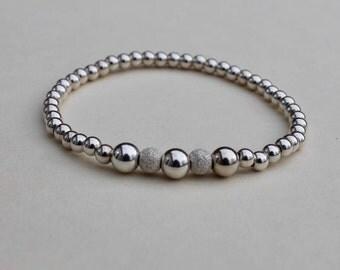 Silver Bracelet - Frosted Beads - Stretch Bracelet - Bead Bracelet - Stack Bracelet - Girlfriend Gift - Gift For Her - Silver Bead Bracelet