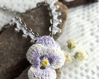 Crochet pansy necklace. Pastel jewelry necklaces. Pansy jewelry. Purple flower necklace. Flower girl necklace. Crochet graduation gift.