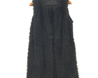 Black Faux Fur Knee Length Vest Hendrix Hippie