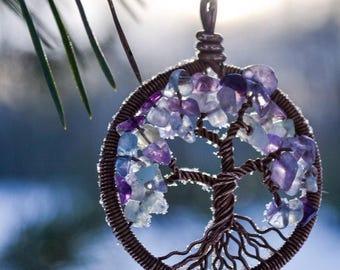 Tree-of-Life Pendant, Fluorite Tree Necklace, Pisces Pendant, Copper Pendant, Wire Wrapped Necklace, Wire Pendant, Copper Anniversary Tree