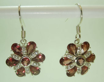 925 Sterling Silver Red Garnet with cubic Zircon Flower  Earring