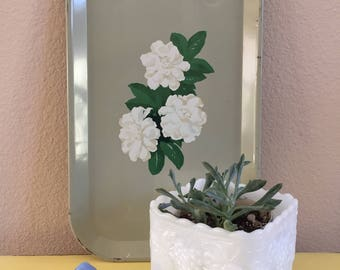Vintage Square Milk Glass Planter with Scalloped Edge and Grape Leaf Design