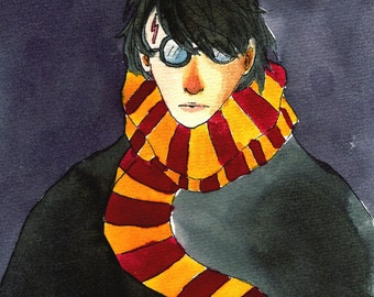 Harry Potter illustrated postcard