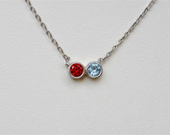 Couples Necklace, Twin Necklace, Two Birthstone Necklace, Birthstone Necklace, Personalized Necklace For Mom, Custom Necklace For Her