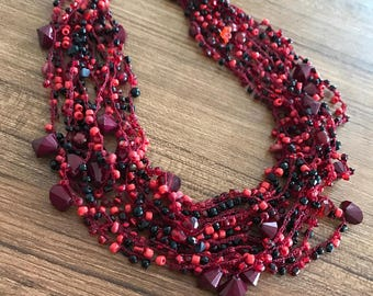Claret Red Beaded Necklace
