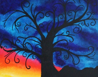 Sunrise Silhouette III Original Painting