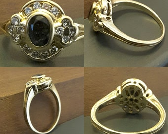 Old ring (18 ct) 18kt yellow gold Sapphire and diamond - wedding - engagement - Present - Valentine - birthstone