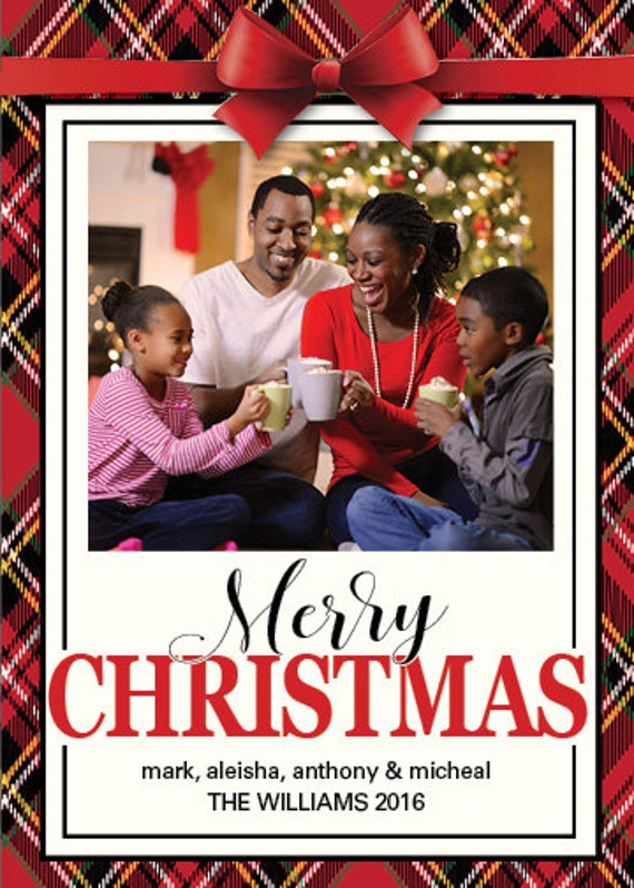 RED PLAID Holiday Photo Card-Customized-Digital Printable Download