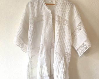 Vintage White and Lace Button Up