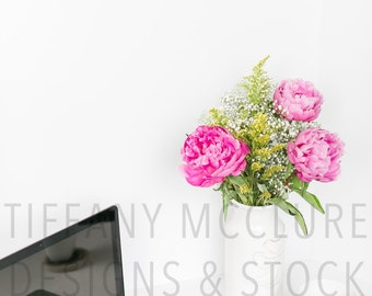 Peony Work Space | Styled Stock Photography