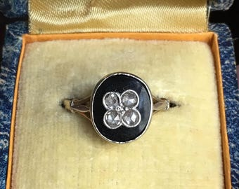 19th Century 18K Gold, Onyx and Rose Diamond Mourning Ring US size 6 3/4 French Hallmarks