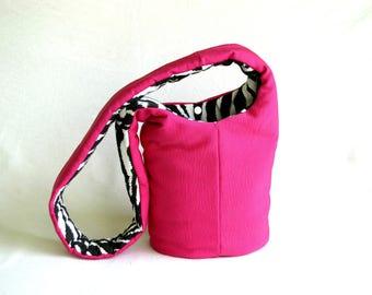 Slouch Bag Pink Vegan Purse Slouchy Hobo Bag Cross Body Purse Pink Fabric Handbag Shoulder Bag Purse Hobo Bag Purse Casual bag for Women Bag