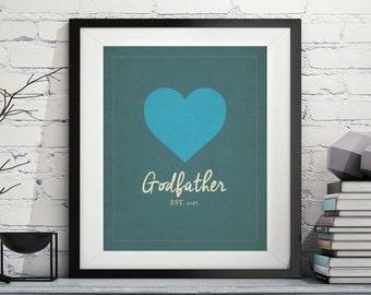 Godfather Art, Godfather Gift, Will You be my Godfather, Godparent Gift, Baptism Gifts for Godparents, Godfather Print, Custom, Personalized