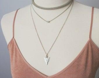 Necklaces-Set of necklaces-Set of 3 Necklaces - Layered Chain-Choker-necklace choker-Arrow necklace-Lurex choker-Shiny choker-Layered set-Gift