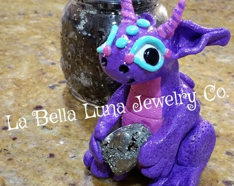Riley the Dragon Protective Good Luck Talisman with Pyrite Crystal