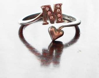 Vintage Silver Initial M Ring with Heart and Rhinestones, 925, Maker's Mark, Adjustable