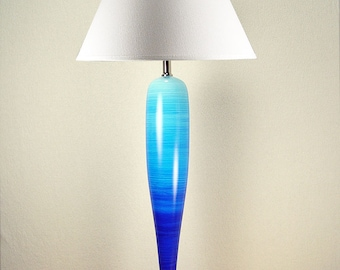 Modern bedroom lamps, Blue table lamp, Master bedroom decor, Ombre painted lamp