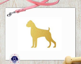 Boxer dog gold silhouette printable wall art