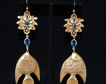 "Fish Earrings w/ Sapphire Blue Stones 3 3/4"" Long - 24kt Gold Plated"