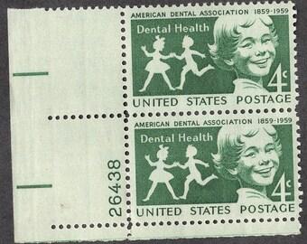 1959 Dental Health ADA Postage Stamps Unused