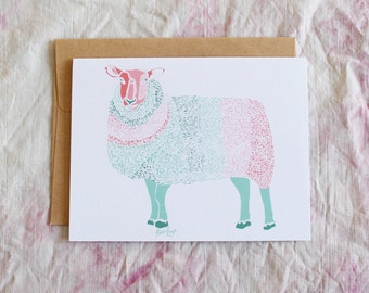 Rainbow Sheep Notecard | FibreShare Card | Sheep Card