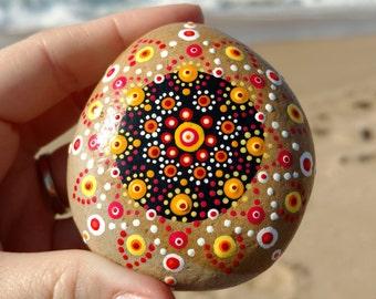 Mandala Stone, Mandala, Sea Stone, Star Burst Mandala, Zen, Meditation Stone, Healing Stone, Zen Garden, Zen Stone, Pet Rock, Beach Stone