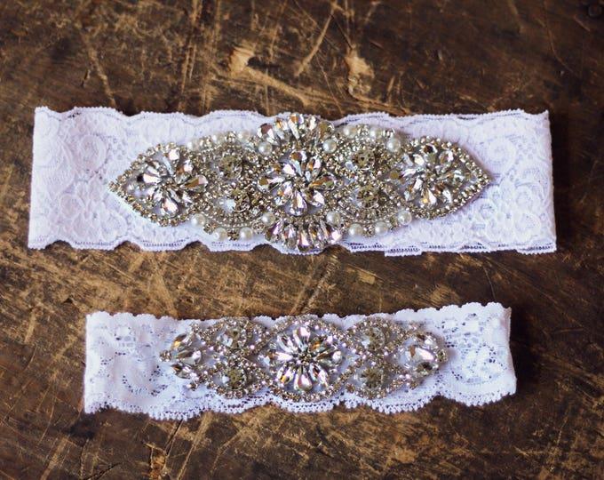 Wedding Garter Set NO SLIP grip vintage rhinestones, white wedding garter