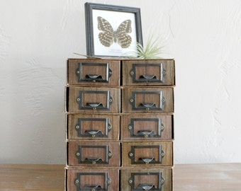 5 Vintage File Drawers, Cardboard File Box, Apothecary Cabinet, Wedding Centerpiece, Event Decor, Faux Wood Box, Craft Storage, Jewelry Box