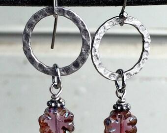 Czech Glass and Gunmetal Hoop Earrings, Plum Czech Glass Flower Earrings, Czech Glass Jewelry, Unique Earrings, Handmade Jewelry