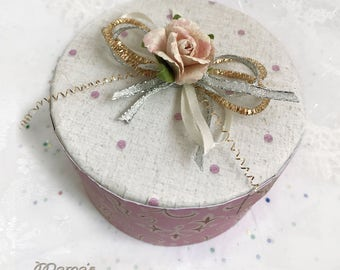 Pink Hearts and Polka Dots Paper Mache Jewelry Box, Trinket Box, Vintage Looking, Birthday, Mother's Day, Valentines Day, Gift, Love, Rose