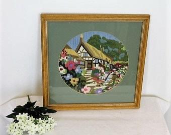 Vintage Framed Crewelwork Cottage Garden/ Art & Collectables/ Fiber Arts/ Crewel/ Wall Hanging/ Home Decor/SALE (001V)