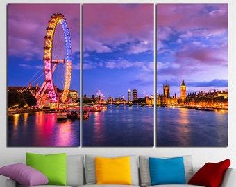 London at twilight London eye Big Ben London Canvas London Art London Skyline London Photo London Poster London wall art London Print